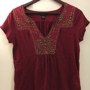 Lucky Brand deep red beaded top